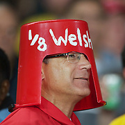 A welsh fan in the crowd during the Australia V Wales Bronze Final match at the IRB Rugby World Cup tournament, Auckland, New Zealand. 21st October 2011. Photo Tim Clayton...