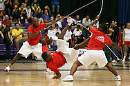 Loughborough, England - Saturday 31 July 2010: The France 1 open team of Valdano Lumingo, Jonathan Hahoto, Jennifer Demosthenes and Jessica-Mbengui Nkoko take part in the double dutch freestyle event during the World Rope Skipping Championships held at Loughborough University, England. The championships run over 7 days and comprise junior categories for 12-14 year olds in the World Youth Tournament, 15-17 year olds male and female championships, and any age open championships. In the team competitions, 6 events are judged, the Single Rope Speed, Double Dutch Speed Relay, Single Rope Pair Freestyle, Single Rope Team Freestyle, Double Dutch Single Freestyle and Double Dutch Pair Freestyle. For more information check www.rs2010.org. Picture by Andrew Tobin/Picture It Now.
