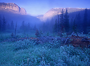 Gateway Gorge from Big River Meadows at sunrise. Bob Marshall Wilderness Area, Montana
