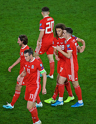 CARDIFF, WALES - Friday, September 6, 2019: Wales' Ethan Ampadu and Tom Lawrence during the UEFA Euro 2020 Qualifying Group E match between Wales and Azerbaijan at the Cardiff City Stadium. (Pic by Paul Greenwood/Propaganda)