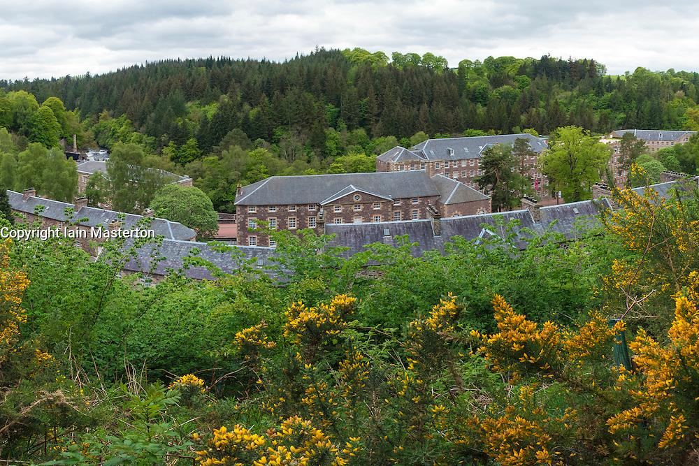 View of historic New Lanark UNESCO World Heritage site in Lanarkshire, Scotland, United Kingdom