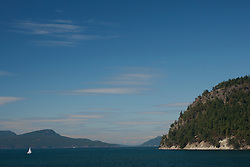 North America, United States, Washington, San Juan Islands, sailboat and islands