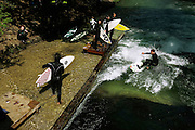 Germany, Monaco: surfing at the English Garden on Isar River
