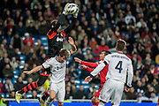 Diego Lopez block the ball in a corner kick