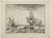 Ships Under Full Sail, 1701. Ludolf Backhuysen (Dutch, 1631-1708), Etching