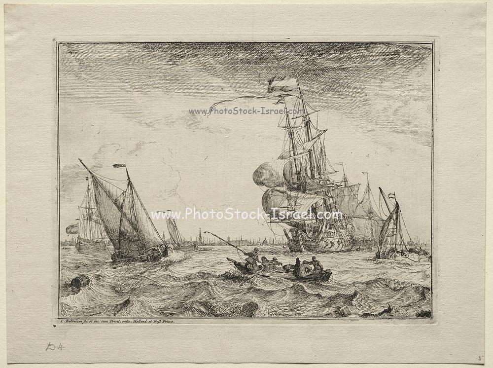Ships Under Full Sail, 1701. Ludolf Backhuysen (Dutch, 1631-1708), Etching