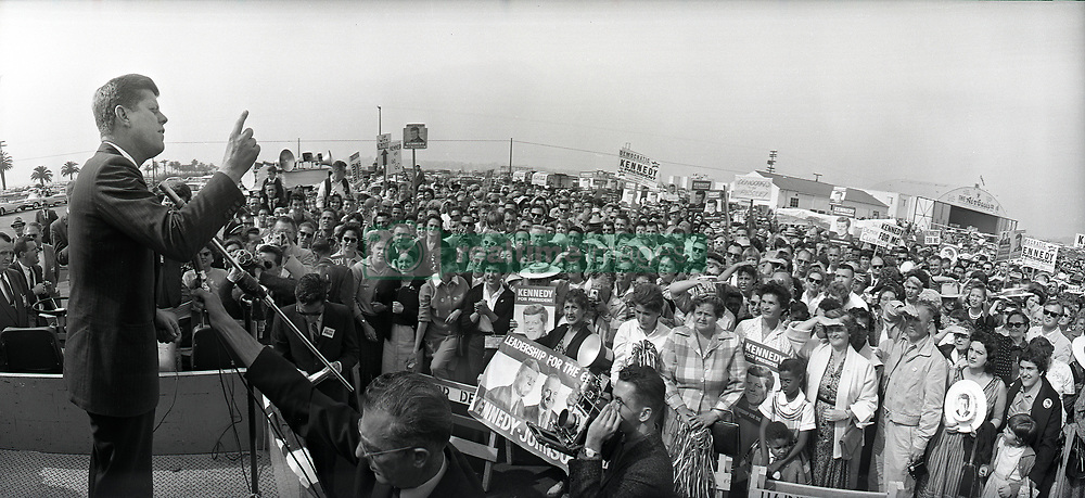 John F. Kennedy, the nation's 35th President, would have turned 100 years old on May 29, 2017. With the centennial anniversary of John F. Kennedy's birth, the former president's legacy is being celebrated across the nation. PICTURED: November 2, 1960- San Diego, California - Democratic presidential candidate Senator JOHN F. KENNEDY gives speech at Lindbergh Field. (Credit Image: © U-T San Diego/ZUMAPRESS.com)