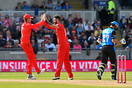 Wicket - Jordan Clark of Lancashire celebrates taking the wicket of Daryl Mitchell of Worcestershire during the Vitality T20 Finals Day Semi Final 2018 match between Worcestershire Rapids and Lancashire Lightning at Edgbaston, Birmingham, United Kingdom on 15 September 2018.