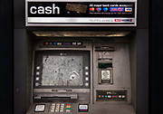 Damaged cash machine on the high street during the second national coronavirus lockdown on 28th November 2020 in Edmonton, London, United Kingdom.