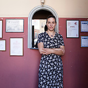 Nafplio, Greece, July 9, 2014. Christina Zoniou, Greek theater actress and director.<br /> In Nafplio, where she lives, Christina founded Osmosis, an organization aimed to raise awareness of citizens about social issues.