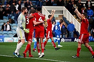 Accrington Stanley players celebrate after the final whistle after the EFL Sky Bet League 1 match between Peterborough United and Accrington Stanley at London Road, Peterborough, England on 20 October 2018.