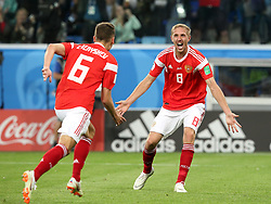 June 19, 2018 - St. Petersburg, Russia - 19 June 2018, Russia, St. Petersburg, FIFA World Cup 2018, First Round, Group A, First Matchday, Russia v Egypt. Player of the national team Denis Cheryshev (6), Yuri Gazinsky  (Credit Image: © Russian Look via ZUMA Wire)