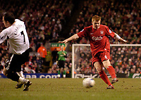 Photo: Jed Wee.<br />Liverpool v Charlton Athletic. The Barclays Premiership. 04/03/2006.<br />Liverpool's John Arne Riise (R) fires a shot in on goal.