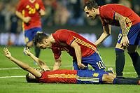Spain's Mario Gaspar (l), Cesc Fabregas (c) and Paco Alcacer celebrate goal during international friendly match. November 13,2015.(ALTERPHOTOS/Acero)