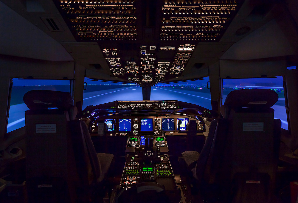 Boeing 767-400ER Simulator, built by CAE in Canada.  Created at the Delta Airlines Training Facility in Atlanta, Georgia.  <br />