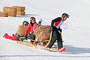 Renzo Blumenthal, Urs Meier, Linda Fäh und Nina Havel beim Hornschlittenrennen. Renzo's Schneeplausch vom 23. Januar 2016 in Vella, Gemeinde Lumnezia.