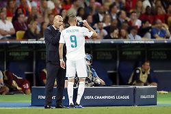 (L-R) coach Zinedine Zidane of Real Madrid, Karim Benzema of Real Madrid during the UEFA Champions League final between Real Madrid and Liverpool on May 26, 2018 at NSC Olimpiyskiy Stadium in Kyiv, Ukraine