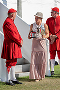 """Henley on Thames, United Kingdom, Sunday,  08/07/2018,  """"Henley Royal Regatta"""",  Princess Royal Challenge Cup, Left, winner Jeannine GMELIN SUI W1X, Ruderclub Uster, with the Queens Waterman, [ Doggett's Coat and Badge winner], Henley Royal Regatta"""", Henley Reach, River Thames, Thames Valley, England, [© Peter SPURRIER],"""