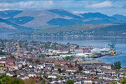 Elevated view of city of Greenock on coast of Firth of Clyde in Inverclyde, Scotland, UK