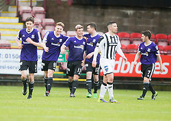 Ayr United's Craig Moore cele scoring their second goal from a penalty. <br /> half time : Dunfermline 1 v 2 Ayr United, Scottish League One played at East End Park, 13/2/2016.