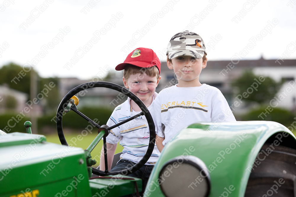 Liam O'Looney and Keelan Hogan, Ennistymon at the Vintage themed family day in the showgrounds in Ennis. Pic Press 22.