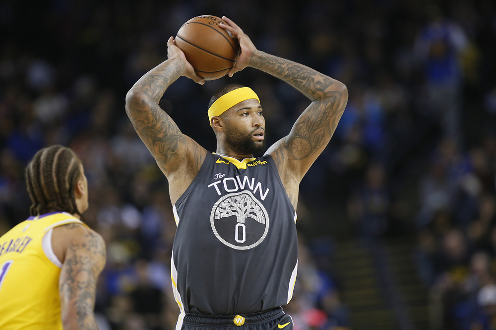 Golden State Warriors center DeMarcus Cousins (0) against the Los Angeles Lakers in the first half of an NBA game at Oracle Arena on Saturday, Feb. 2, 2019, in Oakland, Calif.