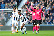 Peterborough's Harry Beautyman (r) appeals for offside against West Brom's Saido Berahino (c). The Emirates FA Cup, 4th round match, West Bromwich Albion v Peterborough Utd at the Hawthorns stadium in West Bromwich, Midlands on Saturday 30th January 2016. pic by Carl Robertson, Andrew Orchard sports photography.