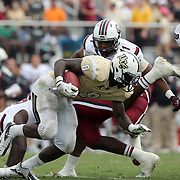 UCF Knights running back Storm Johnson (8) during an NCAA football game between the South Carolina Gamecocks and the Central Florida Knights at Bright House Networks Stadium on Saturday, September 28, 2013 in Orlando, Florida. (AP Photo/Alex Menendez)