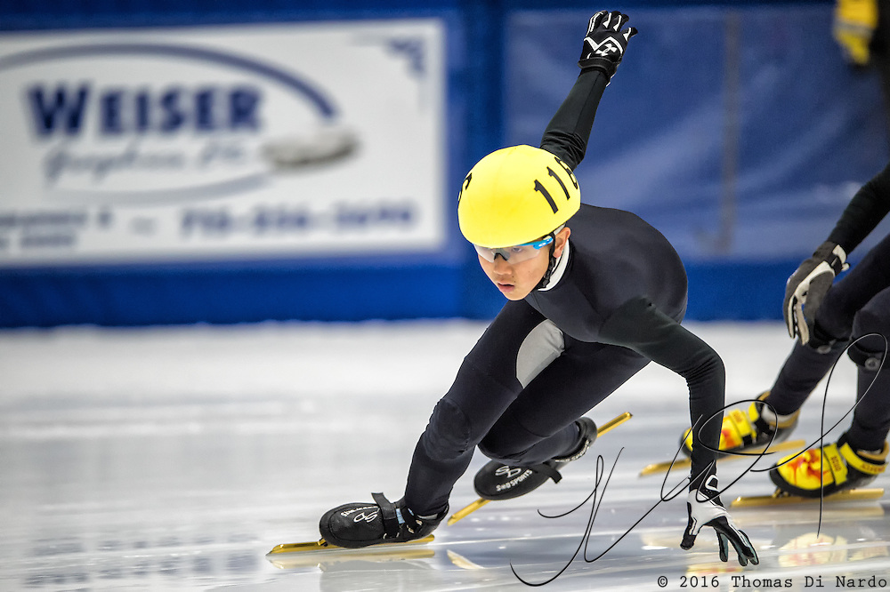 March 18, 2016 - Verona, WI - Jason Won, skater number 116 competes in US Speedskating Short Track Age Group Nationals and AmCup Final held at the Verona Ice Arena.