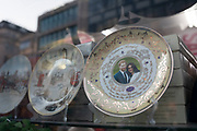 Prince Harry and Meghan souvenir plates in a shop on 21st January 2020 in London, England, United Kingdom. Earlier it had been reported that after recent controversy and discussion amongst members of the royal family, that Prince Harry had flown out of the UK to be with his wife Meghan and their family. Prince Harry and Markle announced recently that they will step back from their roles as senior royals to share their time between the UK and Canada, and to continue both their charity work and continue to a degree their royal responsibilities.
