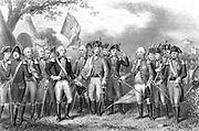 American War of Independence: Defeat of British at Yorktown, Virginia 1781. Charles, Marquis of Cornwallis (1738-1805) O'Hara and Chewton surrendering their swords to Washington. Engraving.