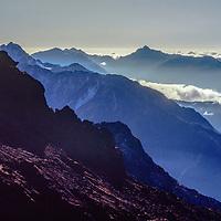 A succession of Himalayan ridges east of the Khumbu region of Nepal's Himalaya. Shot from Zatr Pass.