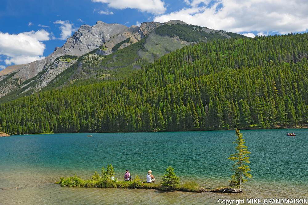 Sitting on island in Two Jack Lake in the Rocky Mountains<br />Banff National Park<br />Alberta<br />Canada