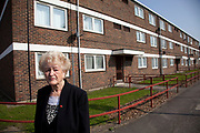 Phyllis Mogridge (82) of Carpenters Estate near to the 2012 London Olympic Park in Stratford, East London, UK. Phyllis has lived here for 32 years and is now desperate to leave. The whole area has changed in her opinion. Shops in Westfiled are too expensive and the Olympic site, she sees as a horrible scar on the landscape. Residents in this area (of which there seem to be very few, especially in the tower blocks) are concerned for many reasons. Not least of which the possible threat that the entire estate site may be sold off to UCL (University College London). People in this area generally feel very negative towards the Olympics, which they feel is not going to benefit them at all.