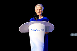 President of the Commonwealth Games Federation Louise Martin gives a speech during the Closing Ceremony for the 2018 Commonwealth Games at the Carrara Stadium in the Gold Coast, Australia.