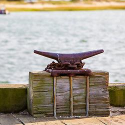 Cleat on the dock in Wellfleet Harbor in  Wellfleet, Massachusetts. Cape Cod.