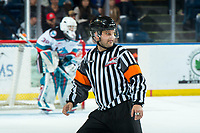 KELOWNA, BC - JANUARY 4:  Referee Chris Crich skates at the Kelowna Rockets against the Vancouver Giants at Prospera Place on January 4, 2020 in Kelowna, Canada. (Photo by Marissa Baecker/Shoot the Breeze)