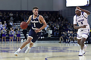 HIGH POINT, NC - JANUARY 06: Charleston Southern's Travis McConico (1) and High Point's Justyn Mutts (5). The High Point University of Panthers hosted the Charleston Southern University Buccaneers on January 6, 2018 at Millis Athletic Convocation Center in High Point, NC in a Division I men's college basketball game. HPU won the game 80-59.