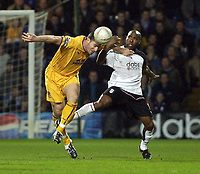Picture: Henry Browne.<br /> Date: 04/02/2004.<br /> Fulham v Everton FA Cup Fourth Round Replay.<br /> <br /> Everton's David Unsworth gets in ahead of Fulham's Barry Hayles.