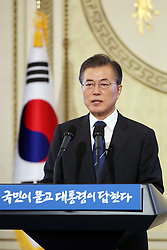 Aug.17, 2017 - Seoul, South Korea - South Korean President MOON JAE-IN speaks during a press conference marking his first 100 days in office in Seoul, South Korea. (Credit Image: © Blue House/Xinhua via ZUMA Wire)