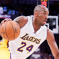 07 December 2014: Los Angeles Lakers guard Kobe Bryant (24) dribbles during the New Orleans Pelicans 104-87 victory over the Los Angeles Lakers, at the Staples Center, Los Angeles, California, USA.