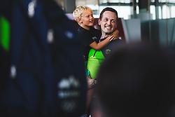 Aleksander Sekulic with his son during arrival of Slovenian national team from Tokio 2020 Olympic games, 8. August 2021, Airport Jozeta Pucnika, Ljubljana, Slovenia. Photo by Grega Valancic