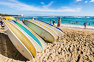 Rental surfboards on Waikiki Beach, Honolulu, Oahu, Hawaii