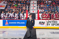 REGINA, SK - MAY 27: Ken Eskdale of the Royal Canadian Legion walks to centre ice for the ceremonial puck drop at the Brandt Centre on May 27, 2018 in Regina, Canada. (Photo by Marissa Baecker/CHL Images)