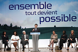 Right-wing candidate for the upcoming 2007 presidential election Nicolas Sarkozy and former Minister Simone Veil during a campaign meeting at the Mutualite in Paris, France on April 6, 2007 in Paris. Photo by Mehdi Taamallah/ABACAPRESS.COM