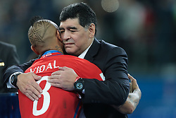 July 2, 2017 - Saint Petersburg, Russia - Arturo Vidal of Chile and Diego Maradona embrace after the FIFA Confederations Cup Russia 2017 Final between Chile and Germany at Saint Petersburg Stadium on July 2, 2017 in Saint Petersburg, Russia. (Credit Image: © Igor Russak/NurPhoto via ZUMA Press)