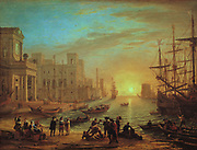 View of a Seaport' or 'Seaport at Sunset', 1639. Oil on canvas:  Claude Lorrain also called Claude Gellee (c1600-1682) French painter active in Italy. Idealised view of a port at evening.
