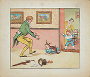Bye, baby Bunting, / Daddy's [Father's] gone a-hunting, / Gone to get a rabbit skin / To wrap the baby Bunting in. from the book  ' Hey diddle diddle and Baby bunting ' by Randolph Caldecott, Published in London by George Routledge & Sons in 1882