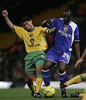 Photo: Barry Bland.<br />Norwich City v Cardiff City. Coca Cola Championship.<br />01/11/2005.<br />Andy Hughes and Michael Ricketts.