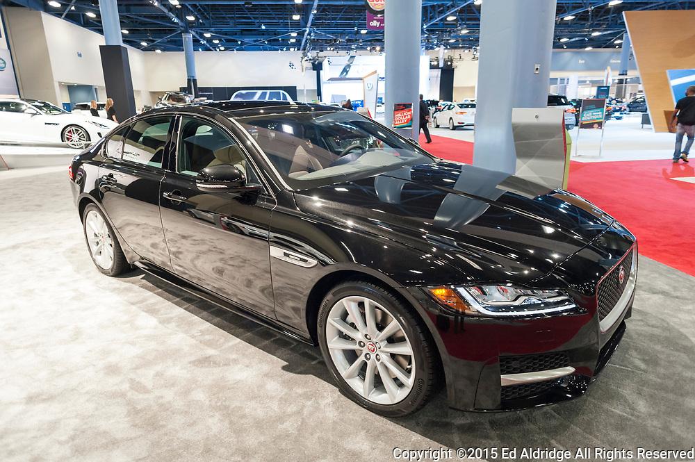 MIAMI BEACH, FL, USA - NOVEMBER 6, 2015: Jaguar XF on display during the 2015 Miami International Auto Show at the Miami Beach Convention Center in downtown Miami Beach.